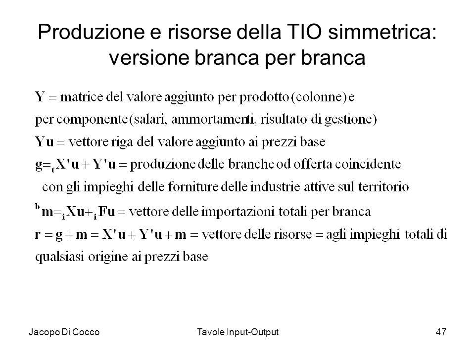 Jacopo Di CoccoTavole Input-Output47 Produzione e risorse della TIO simmetrica: versione branca per branca