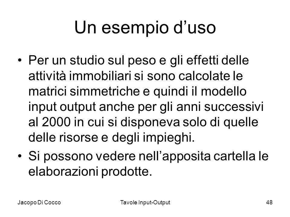 Jacopo Di CoccoTavole Input-Output48 Un esempio d'uso Per un studio sul peso e gli effetti delle attività immobiliari si sono calcolate le matrici sim
