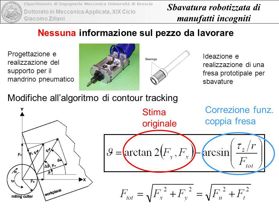 Dottorato in Meccanica Applicata, XIX Ciclo Dipartimento di Ingegneria Meccanica Università di Brescia Giacomo Ziliani Sbavatura robotizzata di manufa