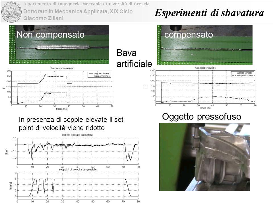 Dottorato in Meccanica Applicata, XIX Ciclo Dipartimento di Ingegneria Meccanica Università di Brescia Giacomo Ziliani Esperimenti di sbavatura Non co