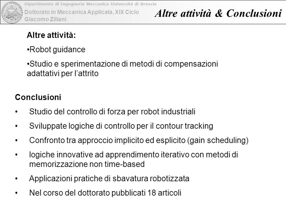 Dottorato in Meccanica Applicata, XIX Ciclo Dipartimento di Ingegneria Meccanica Università di Brescia Giacomo Ziliani Conclusioni Studio del controll