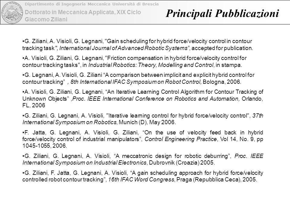 Dottorato in Meccanica Applicata, XIX Ciclo Dipartimento di Ingegneria Meccanica Università di Brescia Giacomo Ziliani Principali Pubblicazioni G.