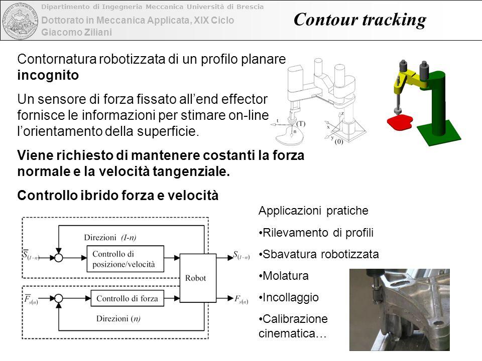 Dottorato in Meccanica Applicata, XIX Ciclo Dipartimento di Ingegneria Meccanica Università di Brescia Giacomo Ziliani Contour tracking Contornatura r