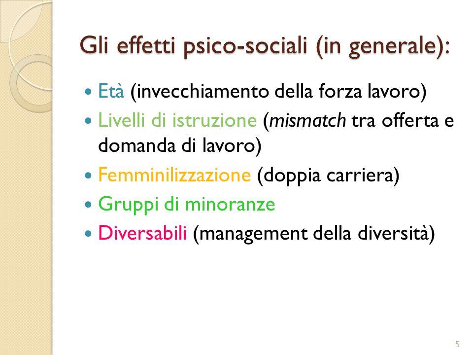Gli effetti psico-sociali (in generale): Età (invecchiamento della forza lavoro) Livelli di istruzione (mismatch tra offerta e domanda di lavoro) Femminilizzazione (doppia carriera) Gruppi di minoranze Diversabili (management della diversità) 5