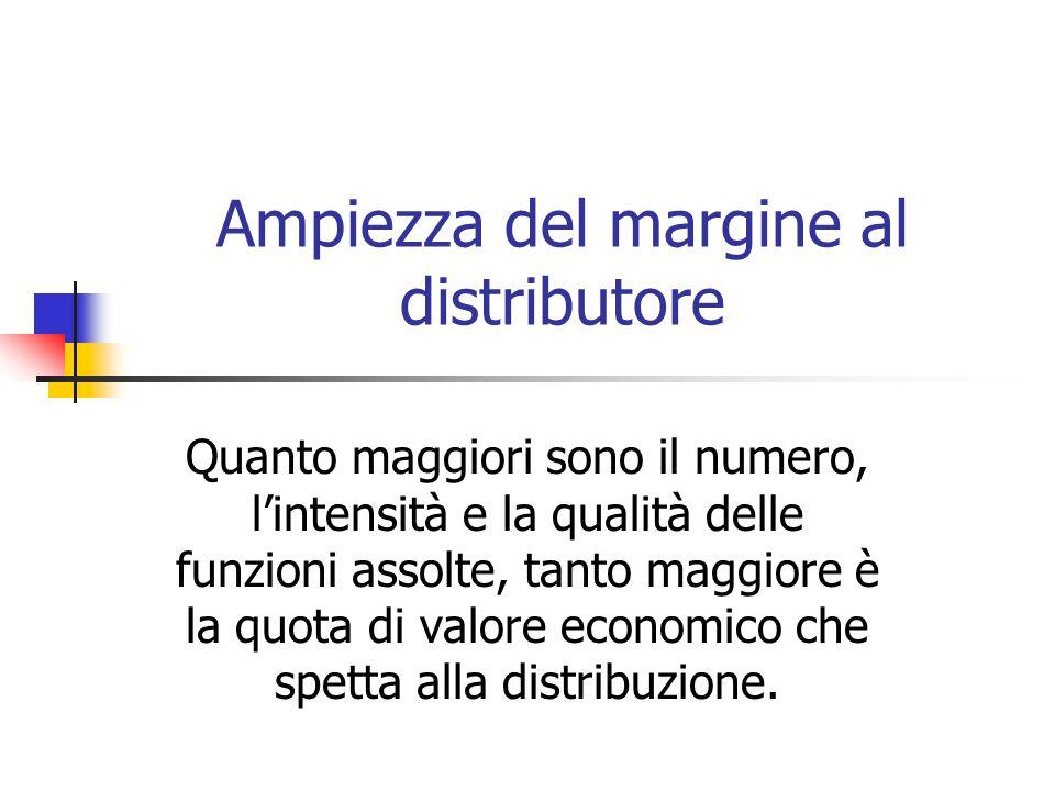 Ampiezza del margine al distributore Quanto maggiori sono il numero, l'intensità e la qualità delle funzioni assolte, tanto maggiore è la quota di valore economico che spetta alla distribuzione.
