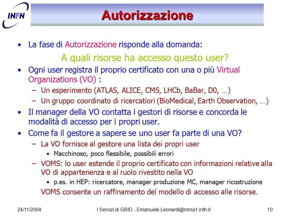 24/11/2004I Servizi di GRID - Emanuele.Leonardi@roma1.infn.it10 Autorizzazione La fase di Autorizzazione risponde alla domanda: A quali risorse ha acc