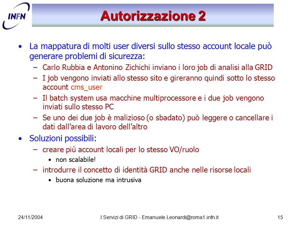 24/11/2004I Servizi di GRID - Emanuele.Leonardi@roma1.infn.it15 Autorizzazione 2 La mappatura di molti user diversi sullo stesso account locale può ge