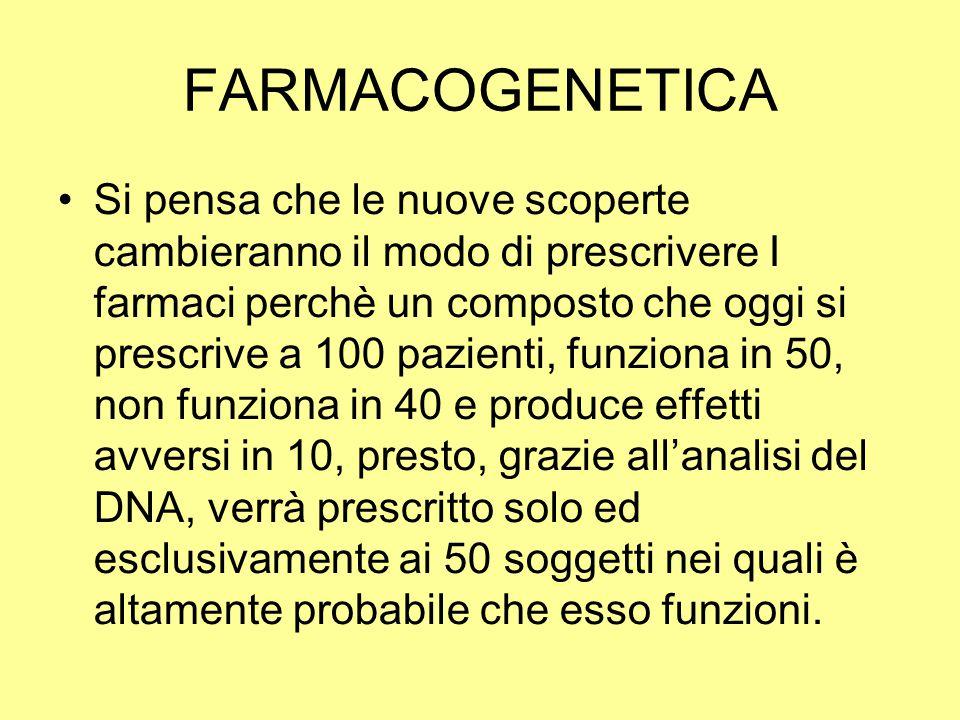 FARMACOGENETICA Si pensa che le nuove scoperte cambieranno il modo di prescrivere I farmaci perchè un composto che oggi si prescrive a 100 pazienti, f