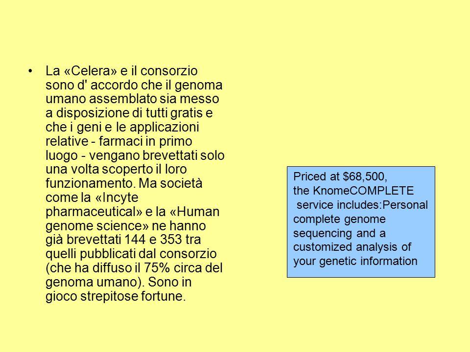 La «Celera» e il consorzio sono d' accordo che il genoma umano assemblato sia messo a disposizione di tutti gratis e che i geni e le applicazioni rela