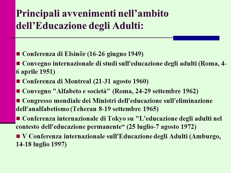 Principali avvenimenti nell'ambito dell'Educazione degli Adulti: Conferenza di Elsinör (16-26 giugno 1949) Convegno internazionale di studi sull educazione degli adulti (Roma, 4- 6 aprile 1951) Conferenza di Montreal (21-31 agosto 1960) Convegno Alfabeto e società (Roma, 24-29 settembre 1962) Congresso mondiale dei Ministri dell educazione sull eliminazione dell analfabetismo (Teheran 8-19 settembre 1965) Conferenza internazionale di Tokyo su L educazione degli adulti nel contesto dell educazione permanente (25 luglio-7 agosto 1972) V Conferenza internazionale sull Educazione degli Adulti (Amburgo, 14-18 luglio 1997)