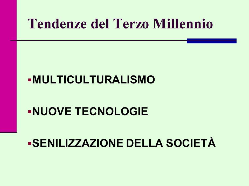 Tendenze del Terzo Millennio  MULTICULTURALISMO  NUOVE TECNOLOGIE  SENILIZZAZIONE DELLA SOCIETÀ