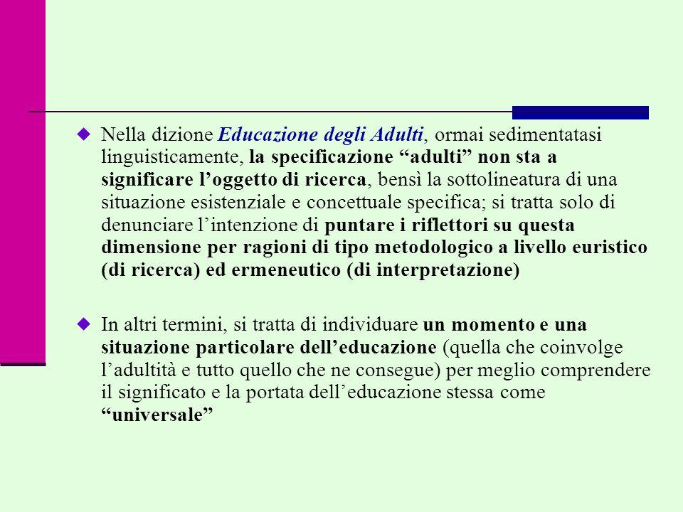 Diverse posizioni in contrasto… Educazione degli Adulti…  una scienza autonoma, a sé stante  una delle presunte tante scienze dell'educazione  una scienza pratica  una prassi  una teoria  una pista di ricerca della Scienza dell'educazione