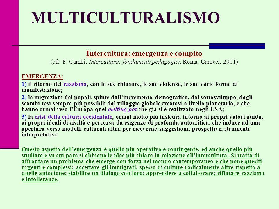 MULTICULTURALISMO Intercultura: emergenza e compito (cfr.