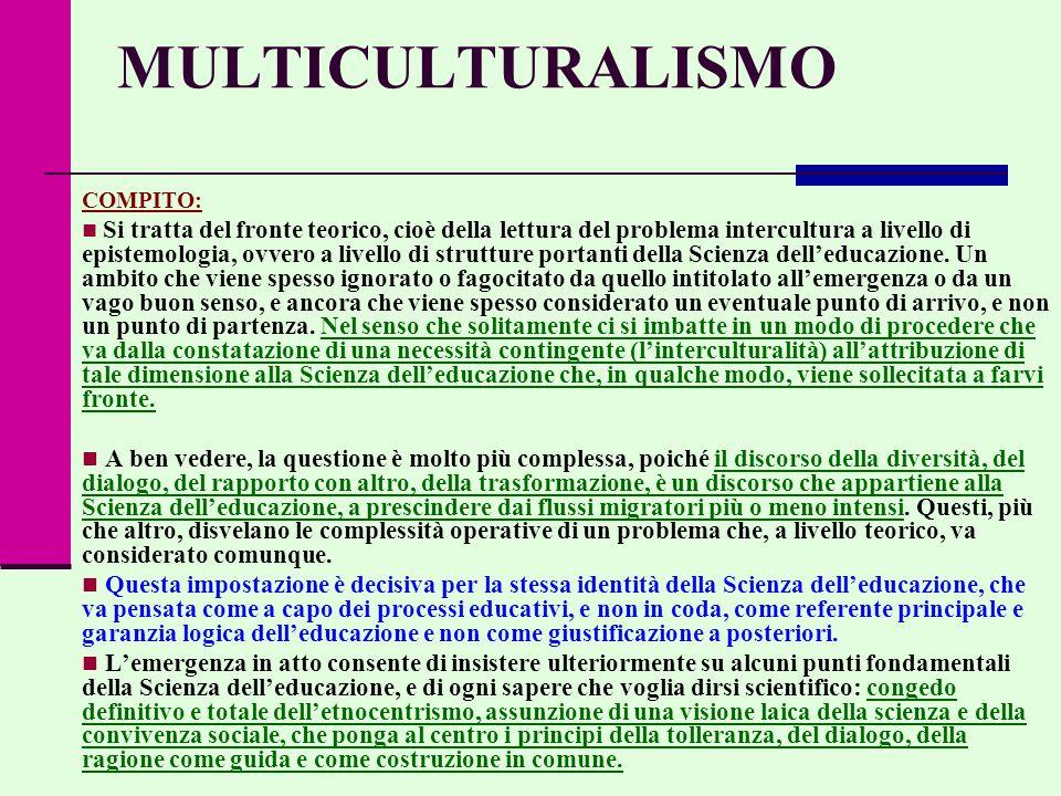 MULTICULTURALISMO COMPITO: Si tratta del fronte teorico, cioè della lettura del problema intercultura a livello di epistemologia, ovvero a livello di strutture portanti della Scienza dell'educazione.