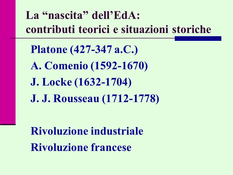 La nascita dell'EdA: contributi teorici e situazioni storiche Platone (427-347 a.C.) A.