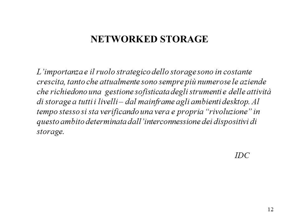 12 NETWORKED STORAGE L'importanza e il ruolo strategico dello storage sono in costante crescita, tanto che attualmente sono sempre più numerose le aziende che richiedono una gestione sofisticata degli strumenti e delle attività di storage a tutti i livelli – dal mainframe agli ambienti desktop.