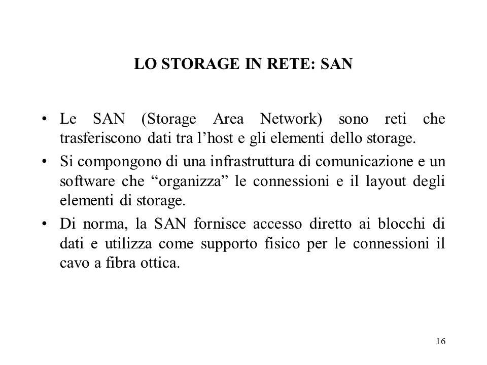 16 LO STORAGE IN RETE: SAN Le SAN (Storage Area Network) sono reti che trasferiscono dati tra l'host e gli elementi dello storage.