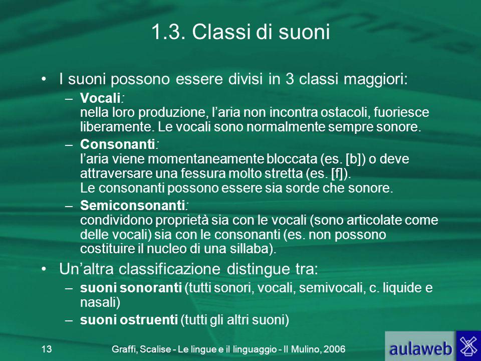 Graffi, Scalise - Le lingue e il linguaggio - Il Mulino, 200613 1.3. Classi di suoni I suoni possono essere divisi in 3 classi maggiori: –Vocali: nell