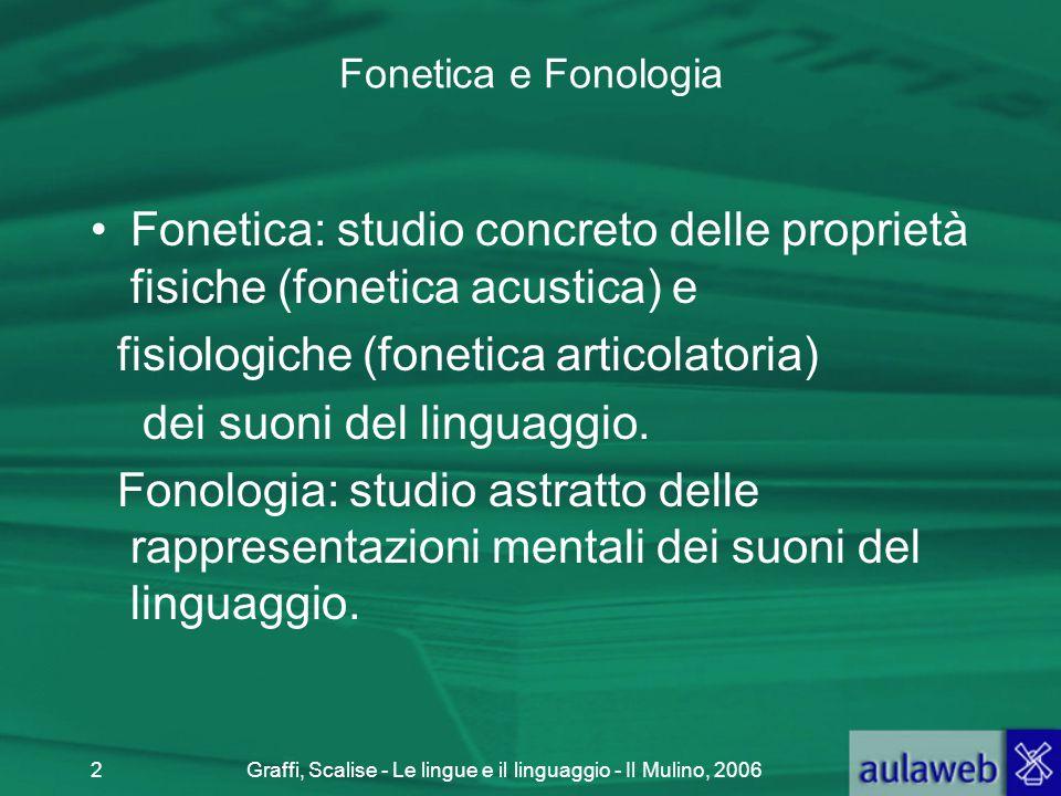 Graffi, Scalise - Le lingue e il linguaggio - Il Mulino, 20062 Fonetica e Fonologia Fonetica: studio concreto delle proprietà fisiche (fonetica acusti