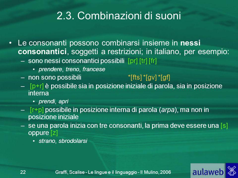 Graffi, Scalise - Le lingue e il linguaggio - Il Mulino, 200622 2.3. Combinazioni di suoni Le consonanti possono combinarsi insieme in nessi consonant