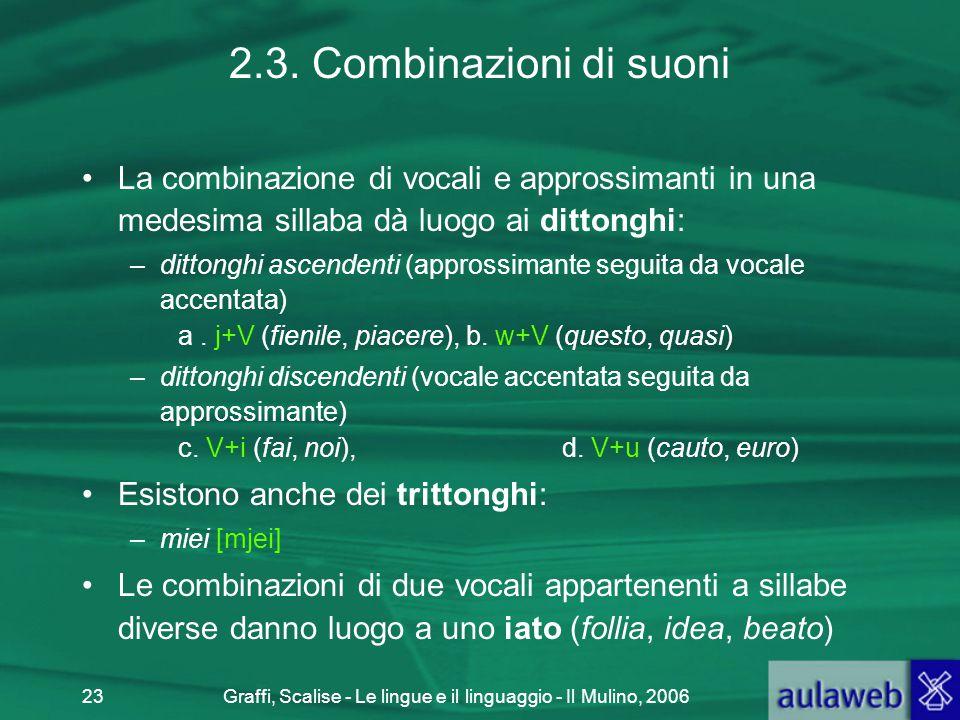 Graffi, Scalise - Le lingue e il linguaggio - Il Mulino, 200623 2.3. Combinazioni di suoni La combinazione di vocali e approssimanti in una medesima s
