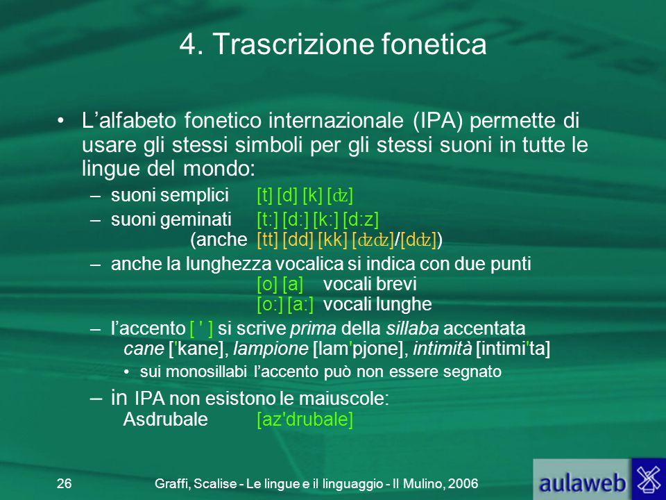 Graffi, Scalise - Le lingue e il linguaggio - Il Mulino, 200626 4. Trascrizione fonetica L'alfabeto fonetico internazionale (IPA) permette di usare gl