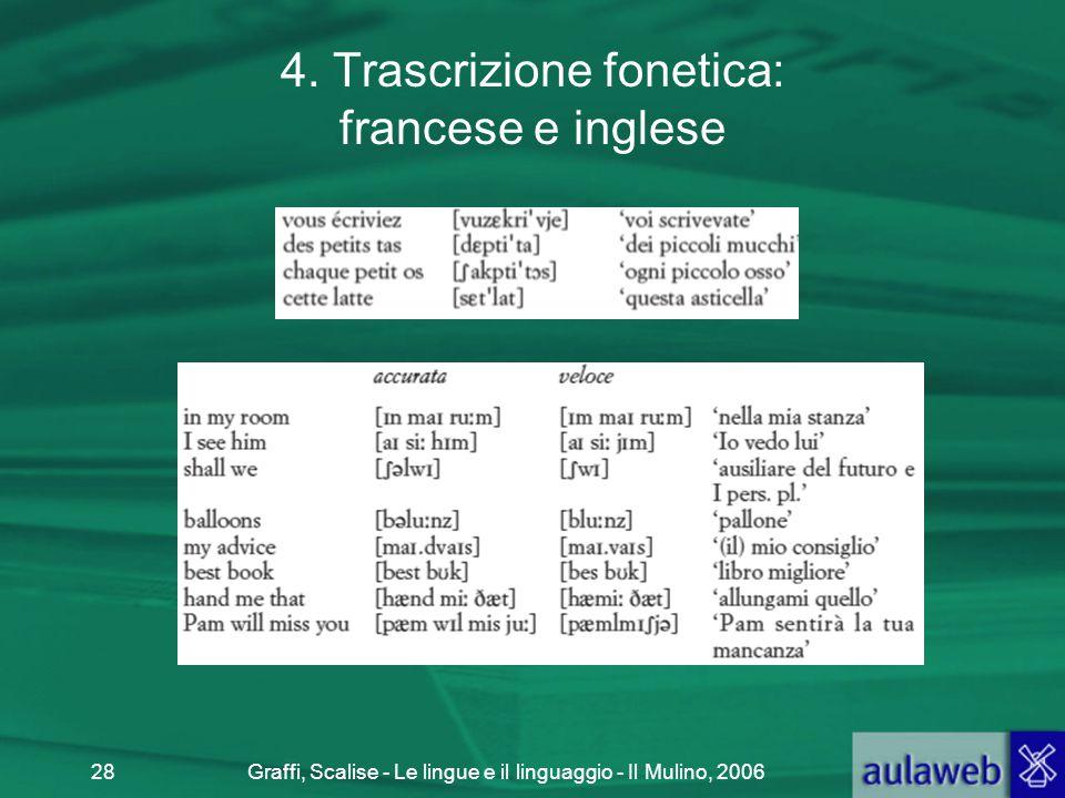 Graffi, Scalise - Le lingue e il linguaggio - Il Mulino, 200628 4. Trascrizione fonetica: francese e inglese