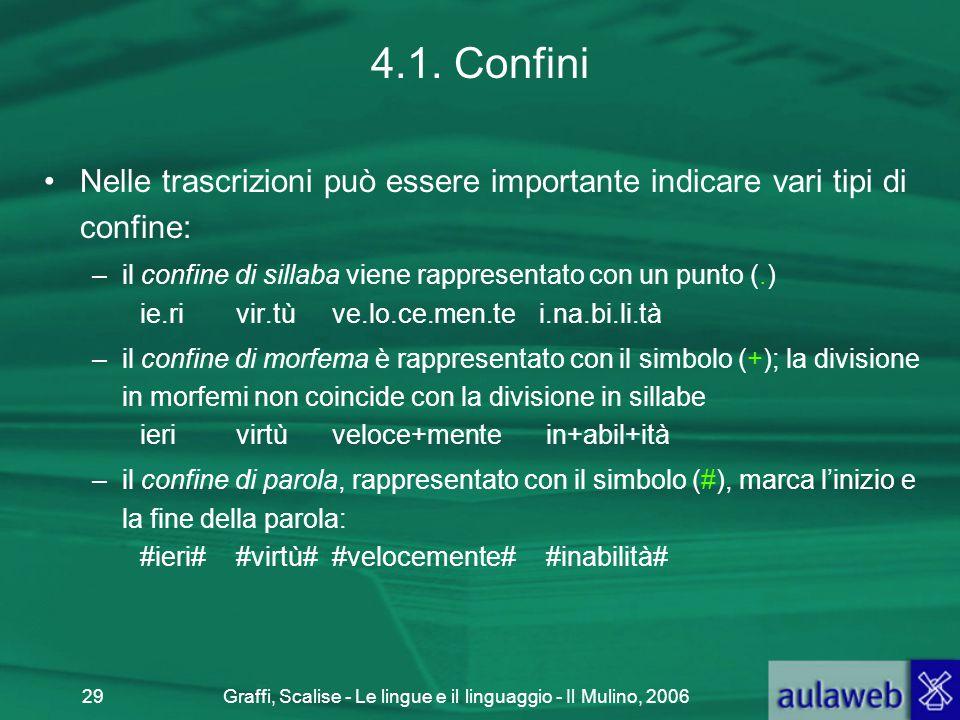Graffi, Scalise - Le lingue e il linguaggio - Il Mulino, 200629 4.1. Confini Nelle trascrizioni può essere importante indicare vari tipi di confine: –