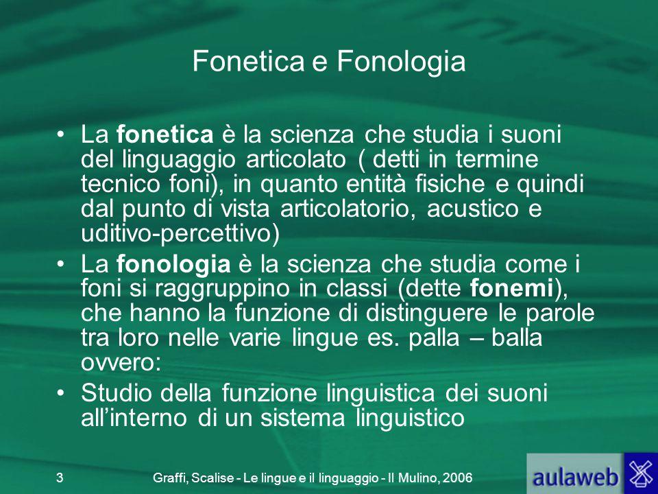 Graffi, Scalise - Le lingue e il linguaggio - Il Mulino, 20063 Fonetica e Fonologia La fonetica è la scienza che studia i suoni del linguaggio articol
