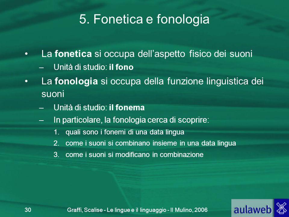 Graffi, Scalise - Le lingue e il linguaggio - Il Mulino, 200630 5. Fonetica e fonologia La fonetica si occupa dell'aspetto fisico dei suoni –Unità di