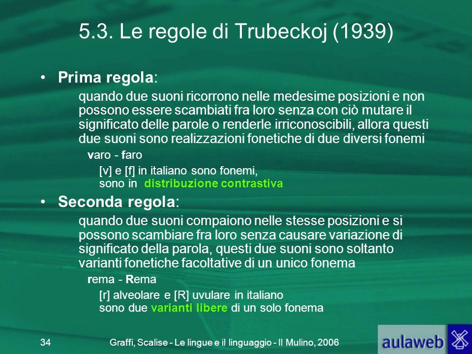 Graffi, Scalise - Le lingue e il linguaggio - Il Mulino, 200634 5.3. Le regole di Trubeckoj (1939) Prima regola: quando due suoni ricorrono nelle mede