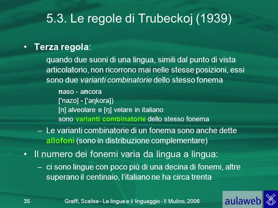 Graffi, Scalise - Le lingue e il linguaggio - Il Mulino, 200635 5.3. Le regole di Trubeckoj (1939) Terza regola: quando due suoni di una lingua, simil