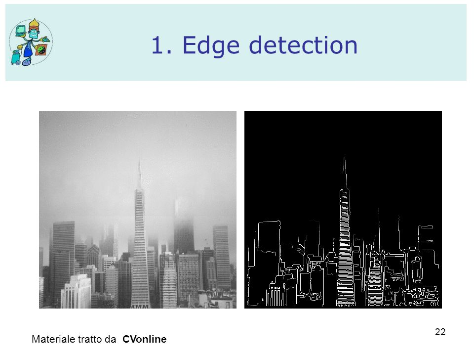 22 1. Edge detection Materiale tratto da CVonline