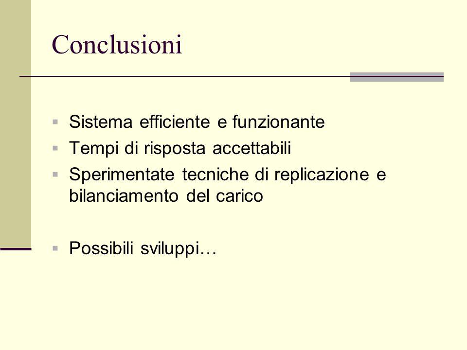 Conclusioni  Sistema efficiente e funzionante  Tempi di risposta accettabili  Sperimentate tecniche di replicazione e bilanciamento del carico  Possibili sviluppi…