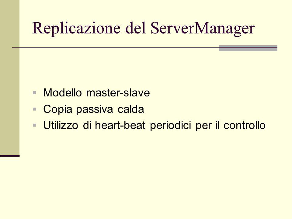 Replicazione del ServerManager  Modello master-slave  Copia passiva calda  Utilizzo di heart-beat periodici per il controllo