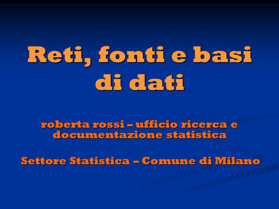 Reti, fonti e basi di dati roberta rossi – ufficio ricerca e documentazione statistica Settore Statistica – Comune di Milano Settore Statistica – Comune di Milano