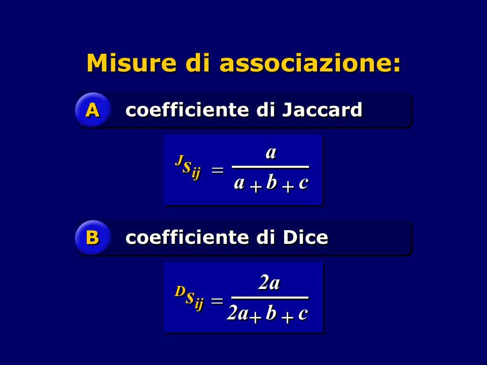 Misure di associazione: A A coefficiente di Jaccard B B coefficiente di Dice c c b b a a a a J s ij           c c b b 2a D s ij  