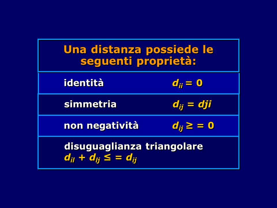 Una distanza possiede le seguenti proprietà: identità d ii = 0 simmetria d ij = dji non negatività d ij ≥ = 0 disuguaglianza triangolare d il + d lj ≤