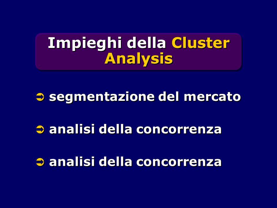 Impieghi della Cluster Analysis  segmentazione del mercato  analisi della concorrenza