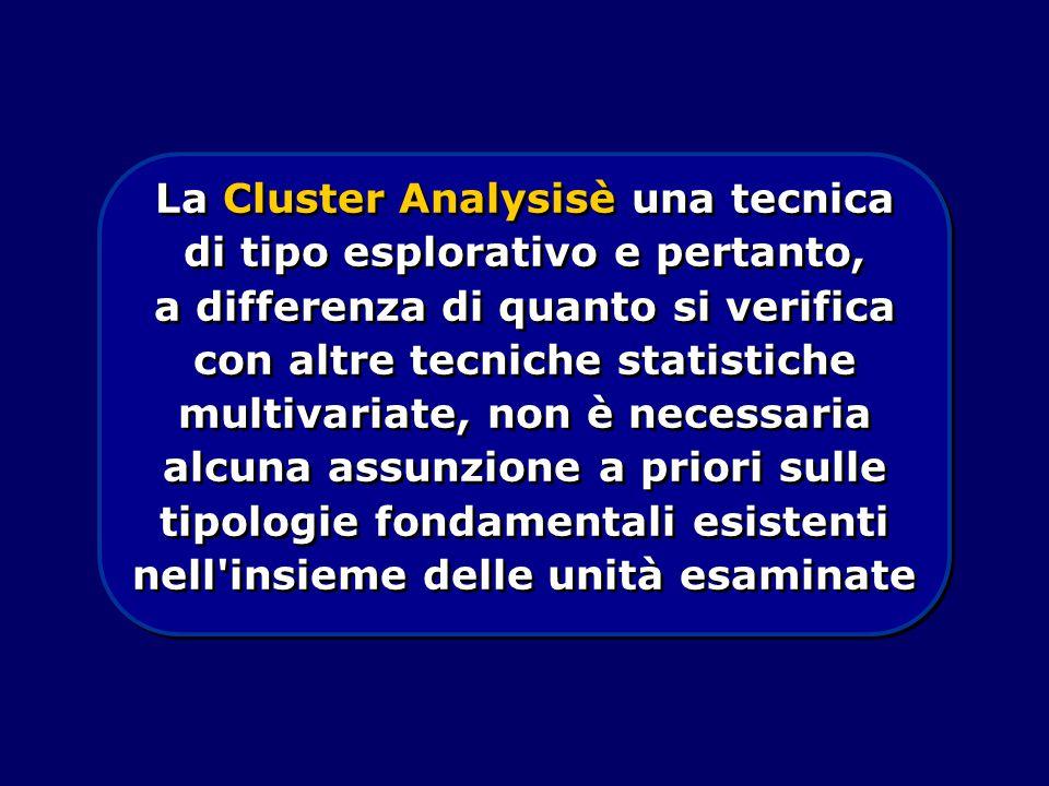 La Cluster Analysisè una tecnica di tipo esplorativo e pertanto, a differenza di quanto si verifica con altre tecniche statistiche multivariate, non è