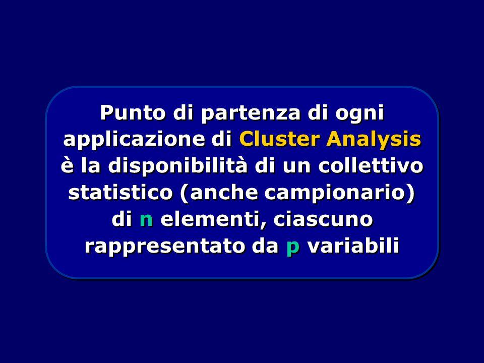 Punto di partenza di ogni applicazione di Cluster Analysis è la disponibilità di un collettivo statistico (anche campionario) di n elementi, ciascuno rappresentato da p variabili