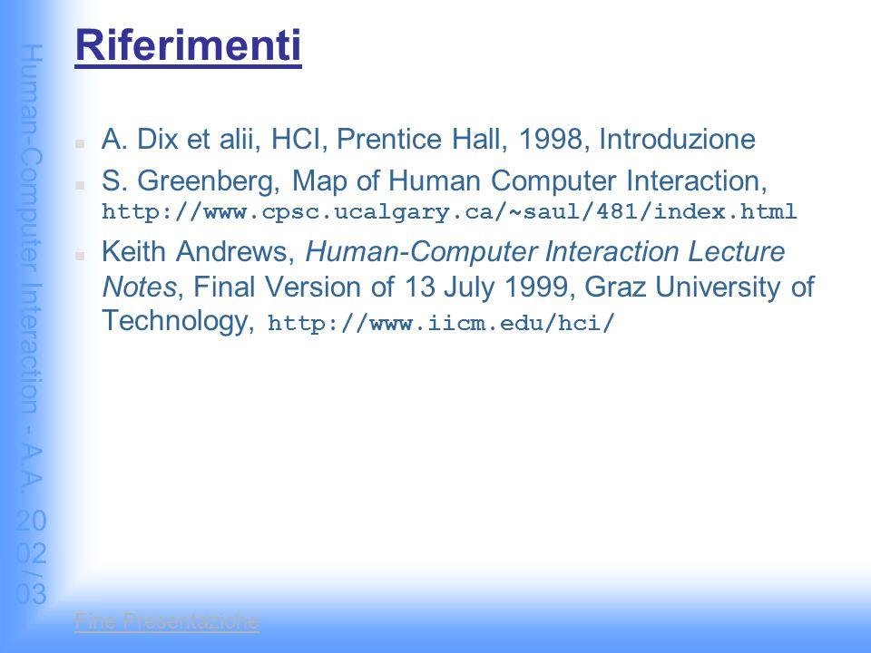 Human-Computer Interaction - A.A. 2002/03 Fine Presentazione Riferimenti A. Dix et alii, HCI, Prentice Hall, 1998, Introduzione S. Greenberg, Map of H