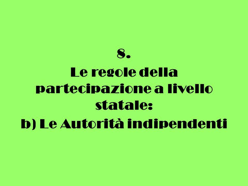 8. Le regole della partecipazione a livello statale: b) Le Autorità indipendenti