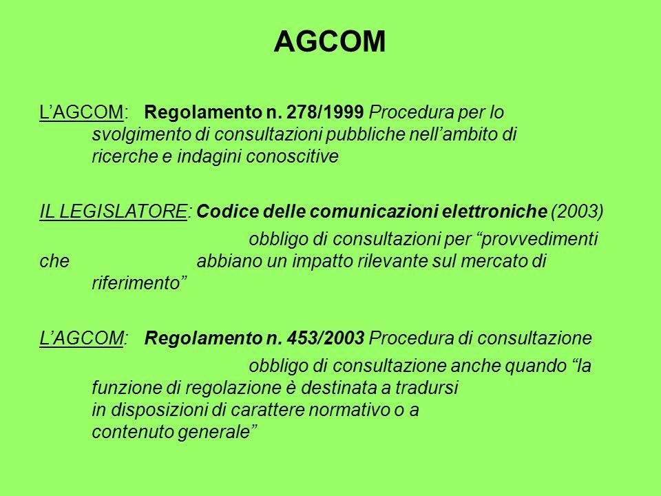 AGCOM L'AGCOM: Regolamento n.