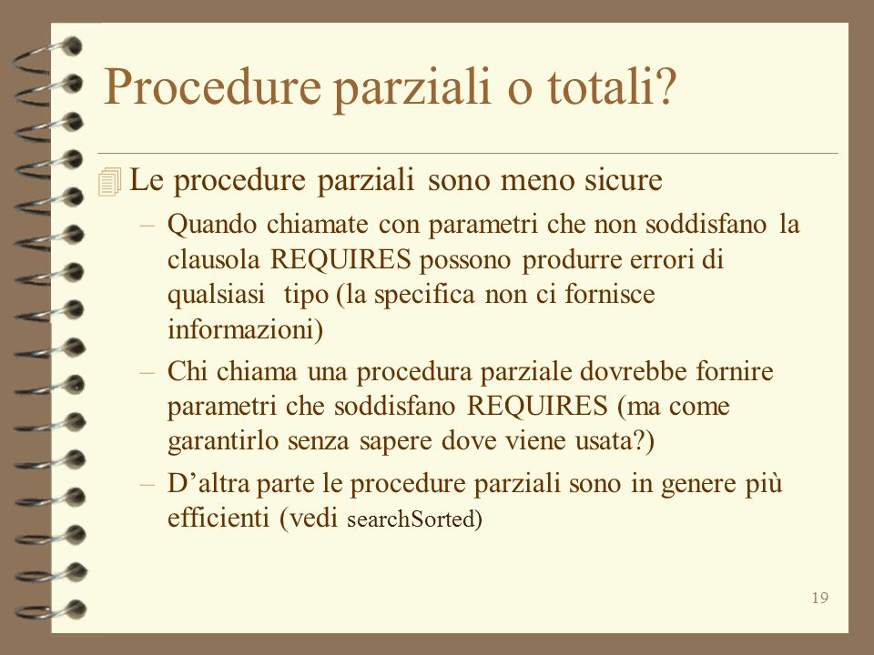 19 Procedure parziali o totali.