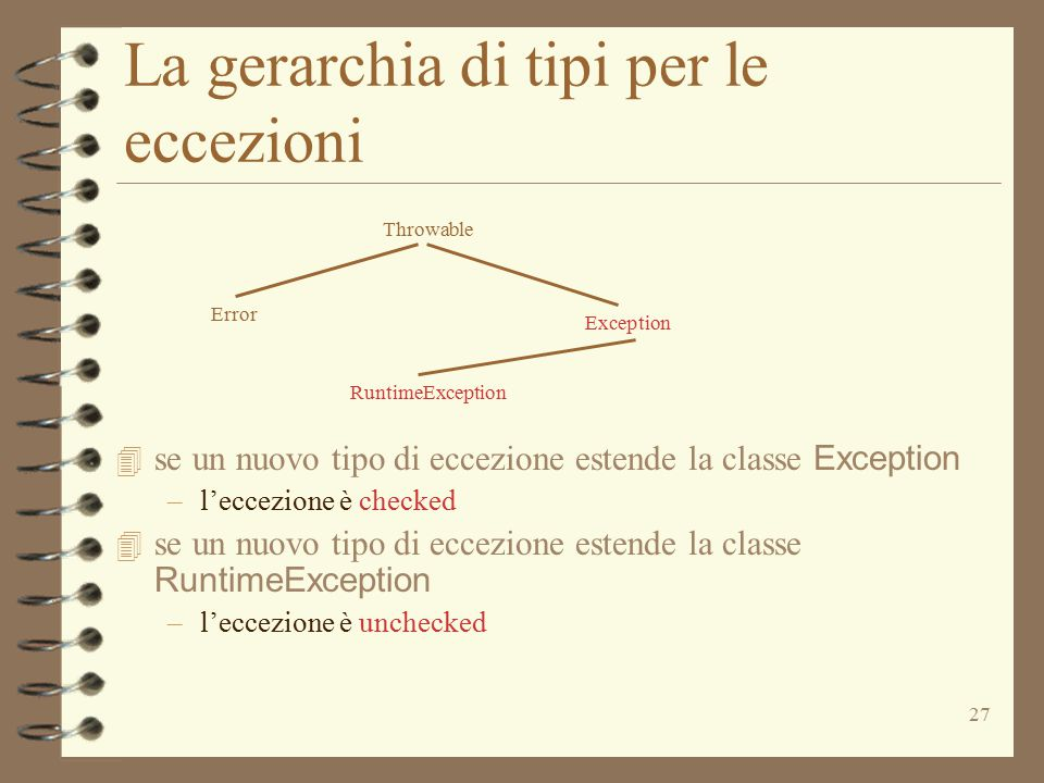 27 La gerarchia di tipi per le eccezioni Throwable Exception Error RuntimeException  se un nuovo tipo di eccezione estende la classe Exception –l'eccezione è checked  se un nuovo tipo di eccezione estende la classe RuntimeException –l'eccezione è unchecked