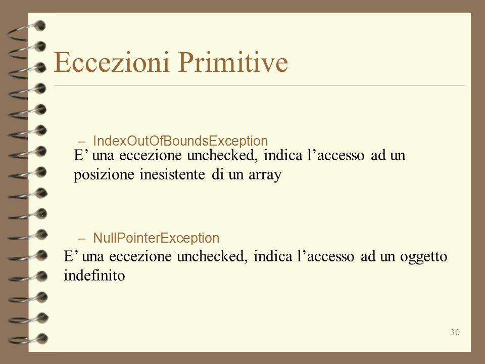 30 Eccezioni Primitive –IndexOutOfBoundsException –NullPointerException E' una eccezione unchecked, indica l'accesso ad un posizione inesistente di un array E' una eccezione unchecked, indica l'accesso ad un oggetto indefinito