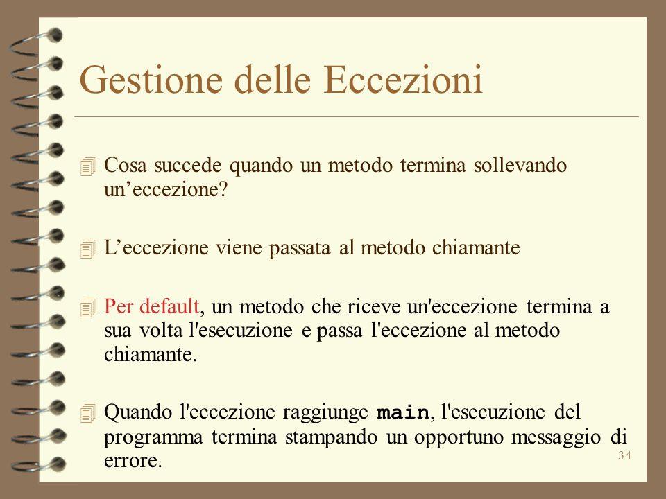 34 Gestione delle Eccezioni 4 Cosa succede quando un metodo termina sollevando un'eccezione.