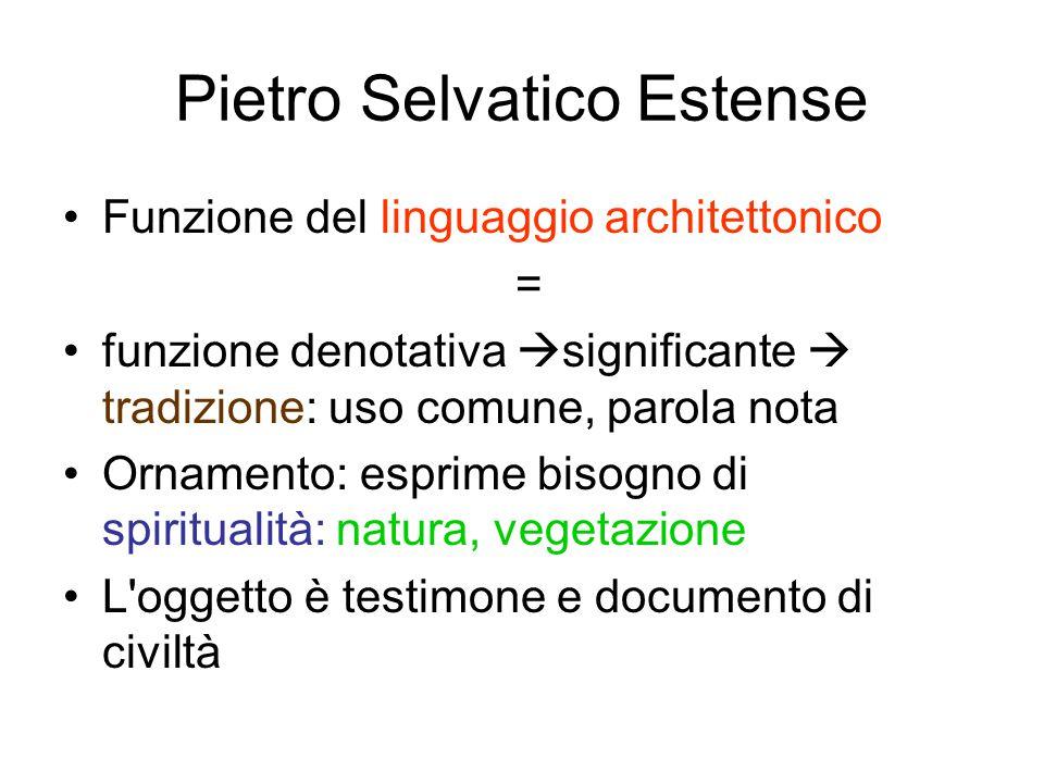 Pietro Selvatico Estense Funzione del linguaggio architettonico = funzione denotativa  significante  tradizione: uso comune, parola nota Ornamento: