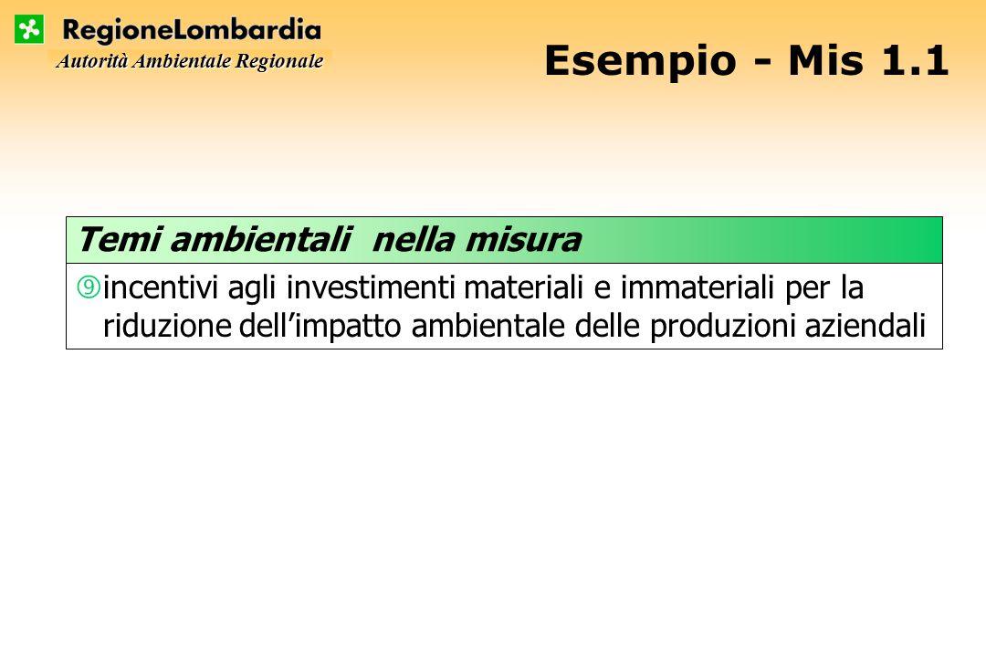 Autorità Ambientale Regionale Esempio - Mis 1.1 ‰incentivi agli investimenti materiali e immateriali per la riduzione dell'impatto ambientale delle produzioni aziendali Temi ambientali nella misura